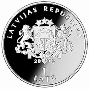 1 Lats (Ice Hockey World Championship) – obverse