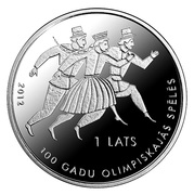 1 Lats (100 years in Olympic Games) – obverse