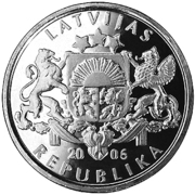 1 Lats (Pinecone) – obverse