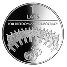 1 Lats (For Freedom and Democracy) – reverse