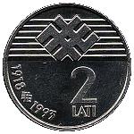 2 Lati (Proclamation of the Republic of Latvia) -  reverse
