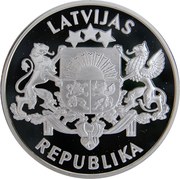 10 Latu (Proclamation of the Republic of Latvia) – obverse