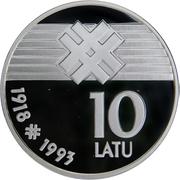 10 Latu (Proclamation of the Republic of Latvia) – reverse