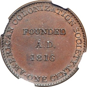 1 Cent (Token Coinage; large ship) – reverse