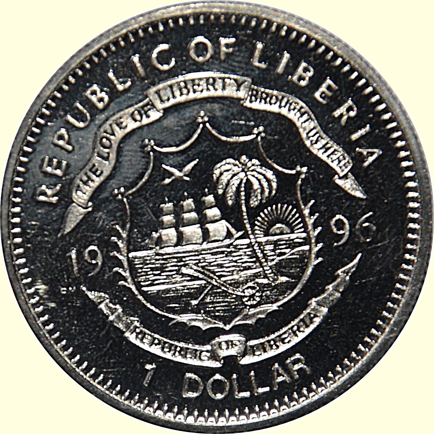 $1 Dollar CuNi Coin 1996 LIBERIA AFRICA Preserve Planet Earth BIRDS LOVEBIRDS
