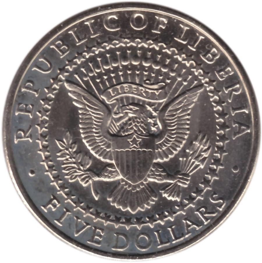 republic of liberia 5 dollar coin
