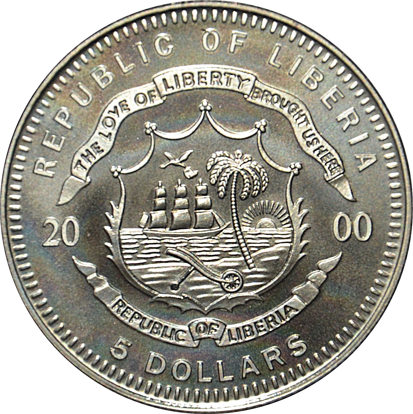 5 Dollars Mayflower Liberia Numista