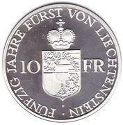 10 Franken - Franz Josef II (Anniversary of Reign) – reverse