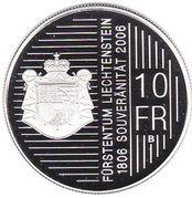 10 Franken - Johann I (200 Years of Sovereignty) – reverse
