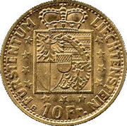 10 Franken - Franz Josef II – reverse