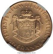 50 Franken - Franz Josef II (National Bank) – reverse