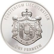 5 Franken - Anton Florian (300 Year Liechtenstein) – reverse
