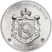 10 Franken - Anton Florian (300 Year Liechtenstein) – reverse