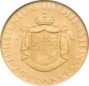 25 Franken - Franz Josef II (National Bank) – reverse