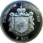 5 ECU (Liechtenstein - Regierungssitz in Vaduz) – obverse