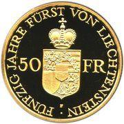 50 Franken - Franz Josef II (Anniversary of Reign) – reverse