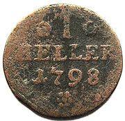 1 Heller - Friedrich Wilhelm Leopold – reverse