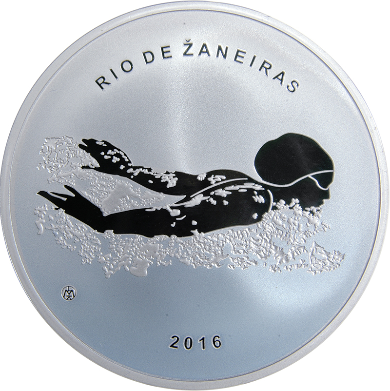 Swimming Silver PROOF LITHUANIA 20 euro 2016 XXXI Olympic Games RIO