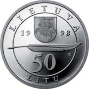 50 Litų (200th birth Anniversary of Adam Mickiewicz (Adomas Mickevičius)) -  obverse