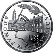 50 Litų (200th birth Anniversary of Adam Mickiewicz (Adomas Mickevičius)) -  reverse