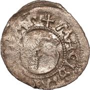 1 Pfennig - Wolter von Plettenberg & Jasper Linde (Riga; one shield; smooth bottom with left half shaded) – obverse