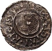 1 Pfennig - Wolter von Plettenberg & Jasper Linde (Riga; one shield; smooth bottom with right half shaded) – obverse