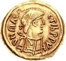 1 Tremissis - In the name of Maurice Tiberius, 582-602 (Victory with full face; without N in field) – obverse
