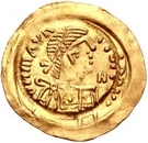 1 Tremissis - In the name of Maurice Tiberius, 582-602 (Victory with full face; with N in field) – obverse