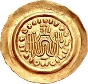 1 Tremissis - In the name of Maurice Tiberius, 582-602 (Victory with crude face and draped hair; stubby tassels) – reverse