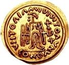 1 Tremissis - In the name of Maurice Tiberius, 582-602 (Victory with crude face and helmet-hair; band curved down) – reverse