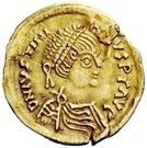 1 Tremissis - In the name of Justinian I, 527-565 (Crossed tassels; hanging) – obverse