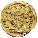1 Tremissis - In the name of Justinian I, 527-565 (Crossed tassels; hanging) – reverse
