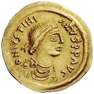 1 Tremissis - In the name of Justinian I, 527-565 (Crossed tassels; straight) – obverse