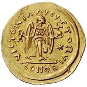 1 Tremissis - In the name of Justinian I, 527-565 (Crossed tassels; straight) – reverse