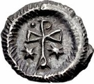 ¼ Siliqua - In the name of Justin II, 565-574 (Open staurogram with dot above) – reverse