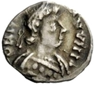 ¼ Siliqua - In the name of Justinian I, 527-565 (With stars; curly hair) – obverse