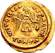 1 Tremissis - In the name of Justin II, 565-574 (Victory facing right; with star and floating) -  obverse