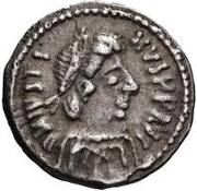 ¼ Siliqua - In the name of Justin II, 565-574 (Closed staurogram without dot below) -  obverse