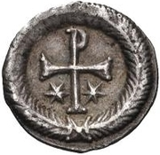 ¼ Siliqua - In the name of Justin II, 565-574 (Closed staurogram without dot below) -  reverse