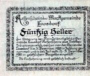 50 Heller (Loosdorf; Green reverse) – reverse