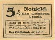 5 Pfennig (Waldenburg in Schlesien) – obverse