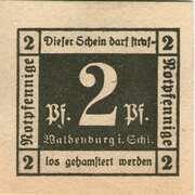 2 Pfennig (Waldenburg in Schlesien) – obverse