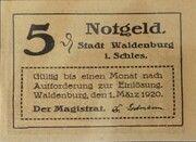 5 Pfennig (Waldenburg in Schlesien) -  obverse