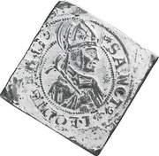 Dicken (Saint Leodegar facing right; large shield; klippe; 1½ dicken weight) -  reverse
