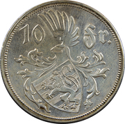 10 Francs - Charlotte (Silver) – reverse