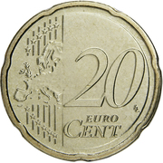 20 Euro Cent - Henri I (2nd map) -  reverse