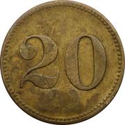 20 Centimes (Werth-Marke; Countermarked