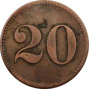 20 Centimes (Werth-Marke - Café Pünnel-Beck; Niederdonven) – reverse
