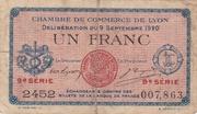 1 Franc - Chambres de Commerce de Lyon – obverse