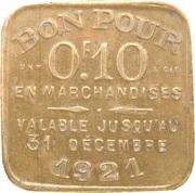 10 Centimes - Chambre Syndicale des Commissionnaires en Primeurs (Lyon) – reverse